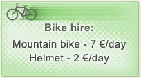 Hire: Mountain bike (Summer), Sledge (Winter)